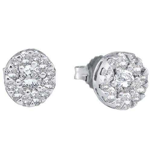 14kt White Gold Womens Round Diamond Flower Cluster Earrings 1/2 Cttw - 39223