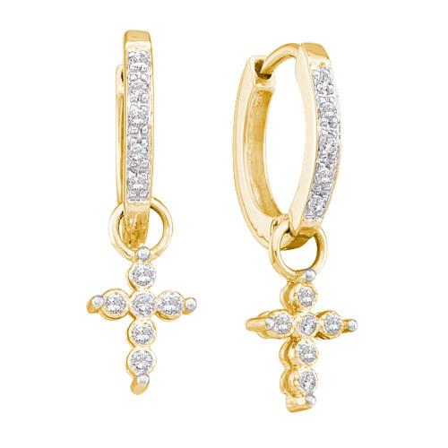 10kt Yellow Gold Womens Round Diamond Cross Dangle Hoop Earrings 1/10 Cttw
