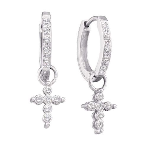 10kt White Gold Womens Round Diamond Cross Dangle Hoop Earrings 1/10 Cttw