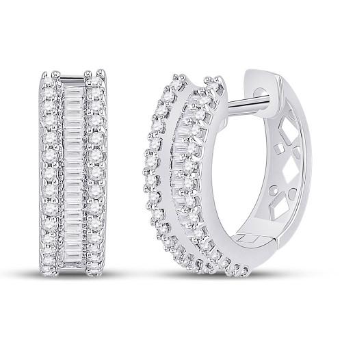 10kt White Gold Womens Round Baguette Diamond Hoop Earrings 1/2 Cttw