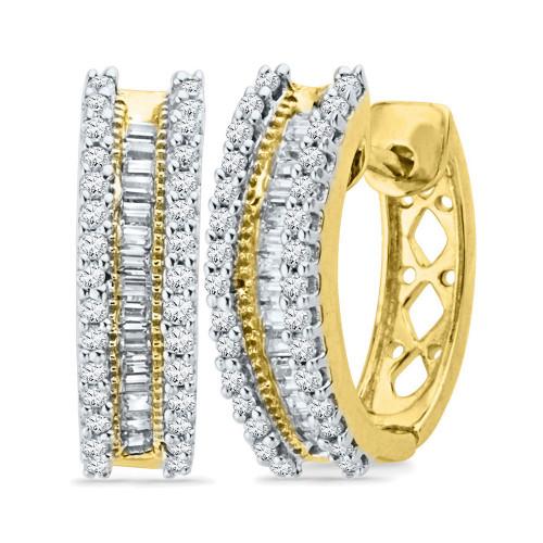 10kt Yellow Gold Womens Round Baguette Diamond Hoop Earrings 1/2 Cttw