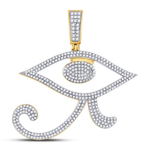 10kt Yellow Gold Mens Round Diamond Eye Of Ra Egyptian Charm Pendant 1.00 Cttw