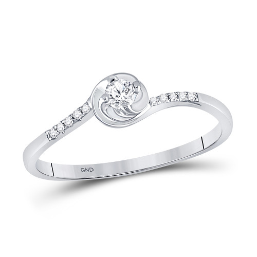 10kt White Gold Womens Round Diamond Solitaire Promise Bridal Ring 1/10 Cttw - 94030
