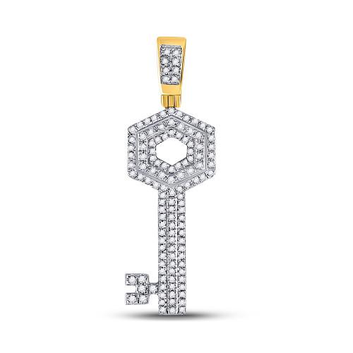 10kt Yellow Gold Mens Round Diamond Key Charm Pendant 1/2 Cttw