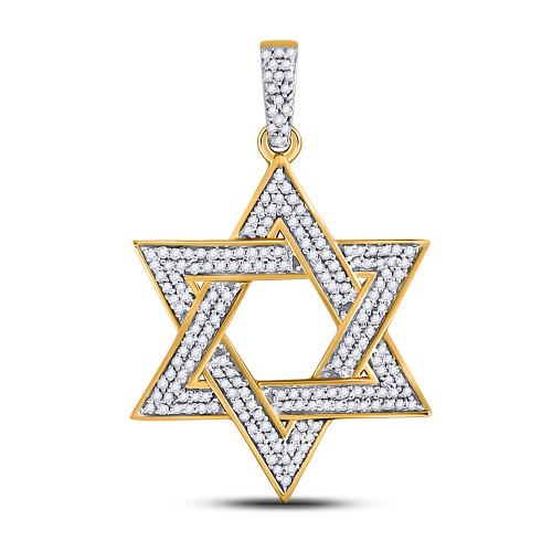 10kt Yellow Gold Mens Round Diamond Magen Star Of David Charm Pendant 1/2 Cttw