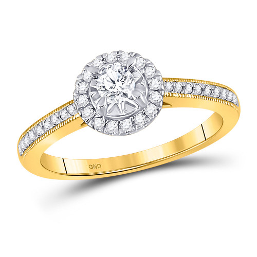 14kt Yellow Gold Womens Round Diamond Solitaire Bridal Wedding Engagement Ring 3/8 Cttw - 149015