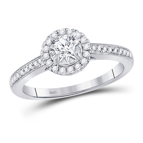 14kt White Gold Womens Round Diamond Solitaire Bridal Wedding Engagement Ring 3/8 Cttw - 149016