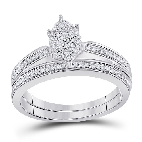 Sterling Silver Womens Round Diamond Bridal Wedding Engagement Ring Band Set 1/4 Cttw