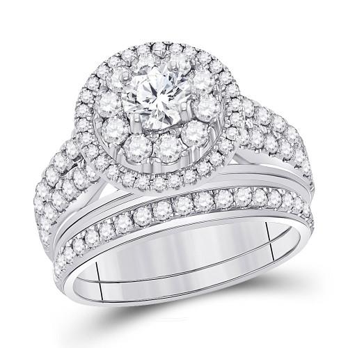 14kt White Gold Womens Round Diamond Bridal Wedding Engagement Ring Band Set 1-1/5 Cttw - 117052