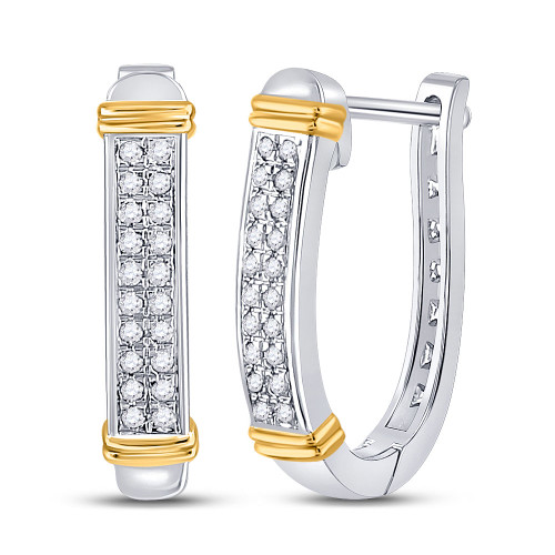 10kt Two-tone Gold Womens Round Diamond Oblong Hoop Earrings 1/6 Cttw
