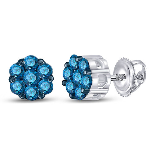 10kt White Gold Womens Round Blue Color Enhanced Diamond Cluster Earrings 1/2 Cttw - 89012