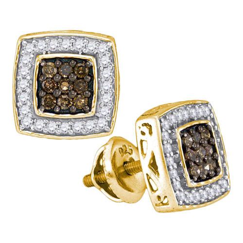 10kt Yellow Gold Womens Round Brown Diamond Square Cluster Earrings 1/2 Cttw - 89001