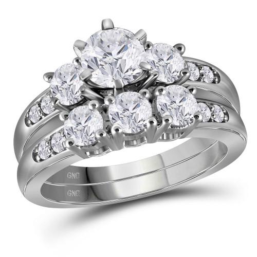 14kt White Gold Womens Round Diamond 3-stone Bridal Wedding Engagement Ring Band Set 2.00 Cttw - 116955