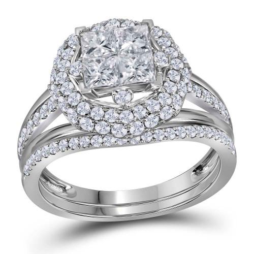 14kt White Gold Womens Princess Diamond Bridal Wedding Engagement Ring Band Set 1-1/2 Cttw - 116739