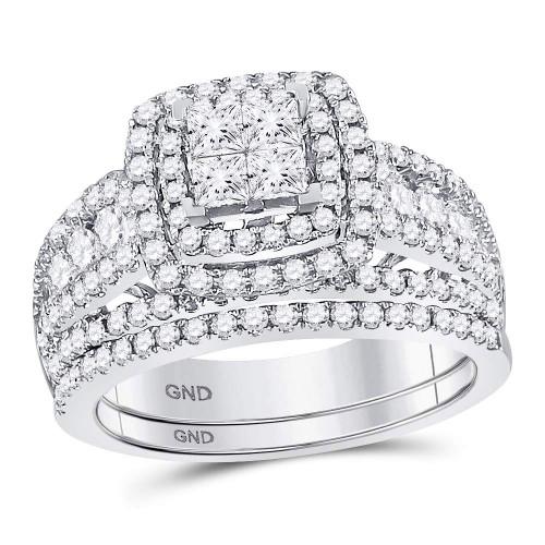 14kt White Gold Womens Princess Diamond Bridal Wedding Engagement Ring Band Set 1-3/4 Cttw