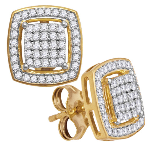 10kt Yellow Gold Womens Round Diamond Square Frame Cluster Earrings 1/3 Cttw