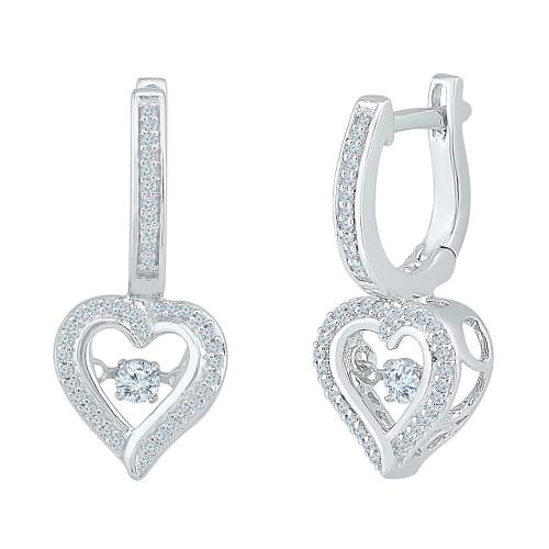 10kt White Gold Womens Round Diamond Heart Dangle Hoop Earrings 1/4 Cttw