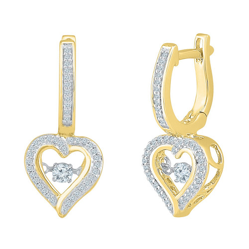 10kt Yellow Gold Womens Round Diamond Heart Dangle Hoop Earrings 1/4 Cttw