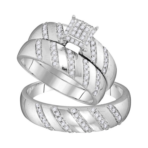 10kt White Gold His & Hers Round Diamond Cluster Matching Bridal Wedding Ring Band Set 1/2 Cttw - 104099