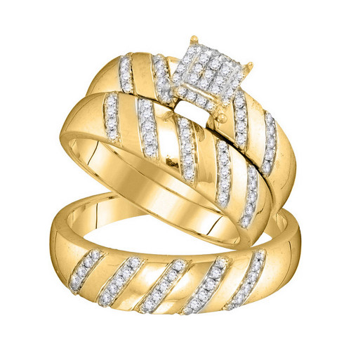 10kt Yellow Gold His & Hers Round Diamond Cluster Matching Bridal Wedding Ring Band Set 1/2 Cttw - 104098