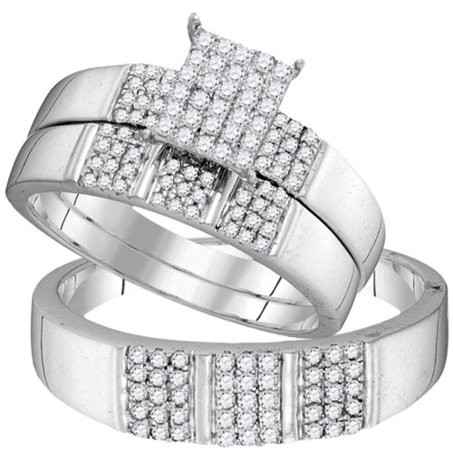 10kt White Gold His & Hers Diamond Square Cluster Matching Bridal Wedding Ring Band Set 1/2 Cttw
