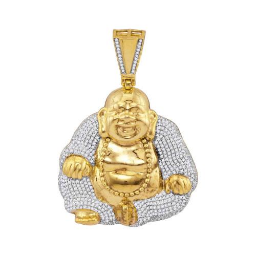 10kt Yellow Gold Mens Round Diamond Laughing Buddha Hotei Charm Pendant 1-3/4 Cttw