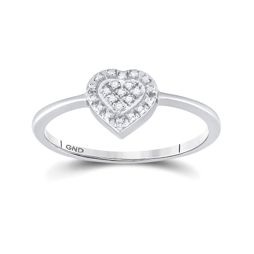 Sterling Silver Womens Round Diamond Heart Ring .03 Cttw