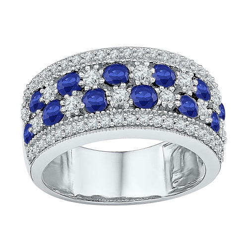 Sterling Silver Womens Round Lab-created Blue Sapphire Band Ring 2-3/8 Cttw