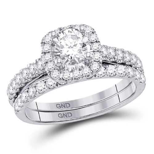 14kt White Gold Womens Round Diamond Bridal Wedding Engagement Ring Band Set 1-1/2 Cttw - 117867
