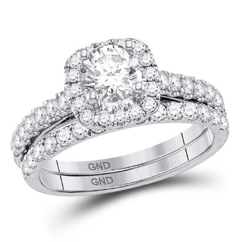 14kt White Gold Womens Round Diamond Bridal Wedding Engagement Ring Band Set 1-1/2 Cttw - 117867