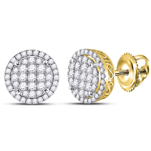 14kt Yellow Gold Womens Round Diamond Circle Frame Cluster Earrings 1-1/4 Cttw