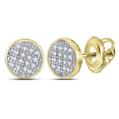 10kt Yellow Gold Mens Round Diamond Circle Cluster Stud Earrings 1/12 Cttw - 117946