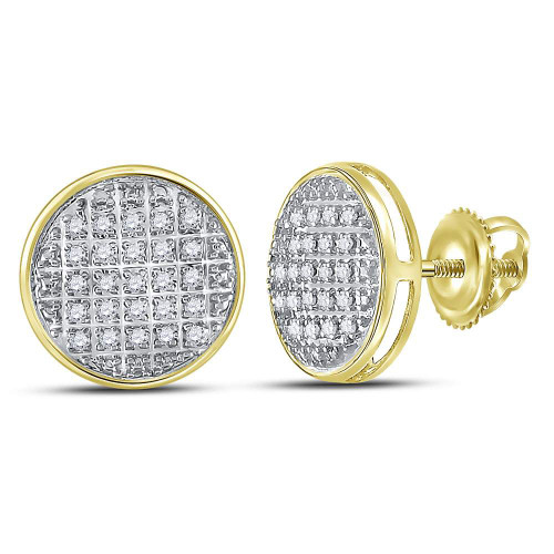 10kt Yellow Gold Mens Round Diamond Circle Cluster Stud Earrings 1/8 Cttw