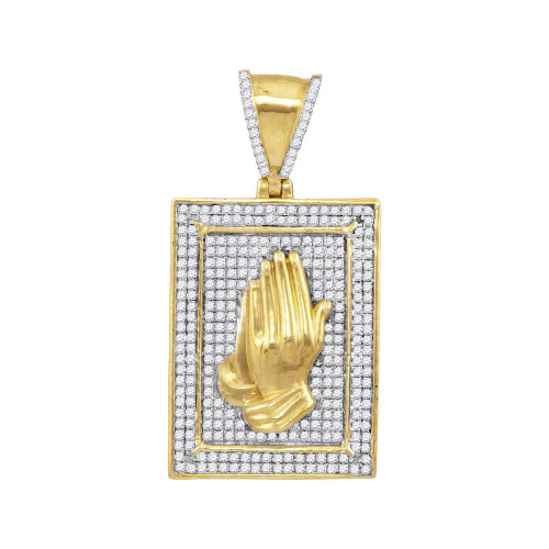 10kt Yellow Gold Mens Round Diamond Praying Hands Frame Charm Pendant 1/2 Cttw