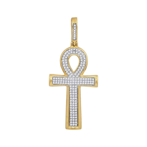 10kt Yellow Gold Mens Round Diamond Ankh Cross Charm Pendant 1/3 Cttw - 117996