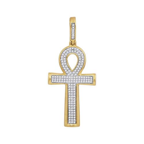 10kt Yellow Gold Mens Round Diamond Ankh Cross Charm Pendant 1/3 Cttw - 117996