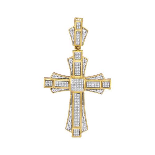 10kt Yellow Gold Mens Round Diamond Cross Saint John Charm Pendant 1.00 Cttw
