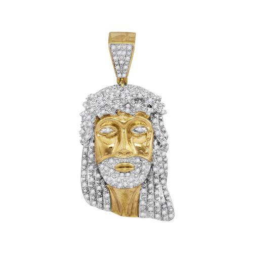 10kt Yellow Gold Mens Round Diamond Jesus Face Charm Pendant 7/8 Cttw