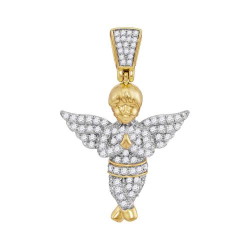 10kt Yellow Gold Mens Round Diamond Guardian Angel Charm Pendant 1/2 Cttw
