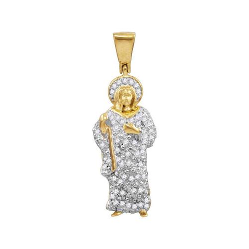 10kt Yellow Gold Mens Round Diamond Jesus Halo Charm Pendant 1/2 Cttw