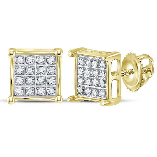 10kt Yellow Gold Womens Round Diamond Square Cluster Earrings 1/10 Cttw - 117961