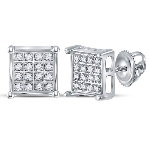 10kt White Gold Womens Round Diamond Square Cluster Earrings 1/10 Cttw - 117960