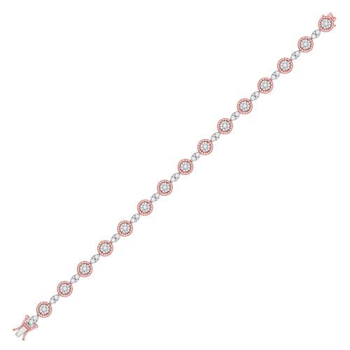 14kt Two-tone Gold Womens Round Diamond Flower Cluster Fashion Bracelet 2-1/2 Cttw