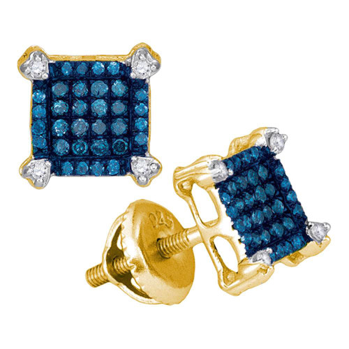 10kt Yellow Gold Womens Round Blue Color Enhanced Diamond Square Cluster Earrings 1/4 Cttw - 89136