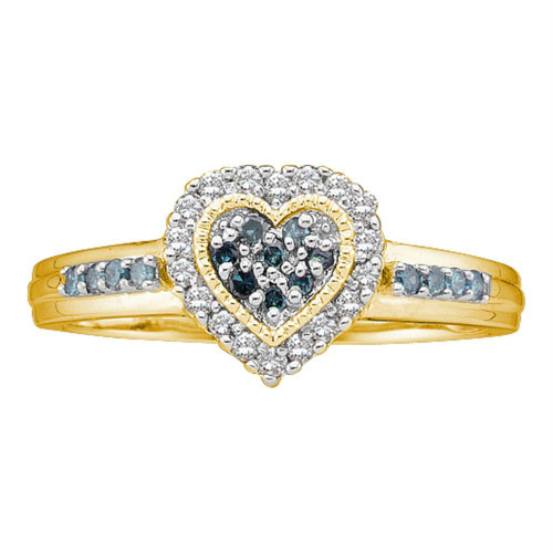 14kt Yellow Gold Womens Round Blue Color Enhanced Diamond Heart Cluster Ring 1/4 Cttw