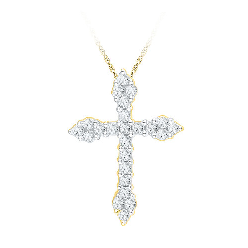 10kt Yellow Gold Womens Round Diamond Cross Religious Pendant 1/4 Cttw - 97353