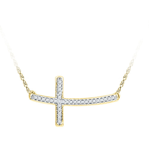 10kt Yellow Gold Womens Round Diamond Horizontal Cross Necklace 1/10 Cttw
