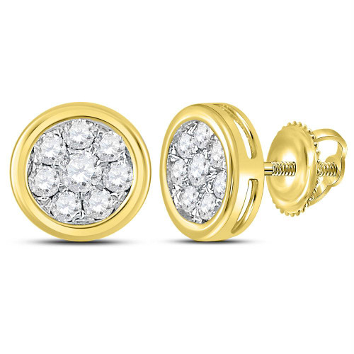 14kt Yellow Gold Womens Round Diamond Circle Cluster Stud Earrings 1/2 Cttw