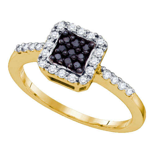10k Yellow Gold Black Color Enhanced Diamond Womens Square Halo Cluster Slender Ring 1/3 Cttw
