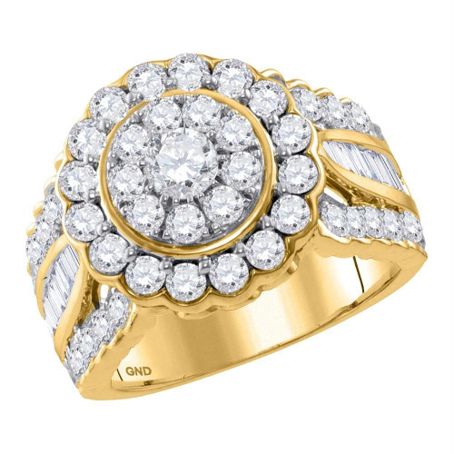 14kt Yellow Gold Womens Round Diamond Solitaire Halo Bridal Wedding Engagement Ring 3.00 Cttw